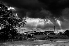 Suburb drama (Tricycl) Tags: thailand ayutthaya sunset sun beams asia blackandwhite noiretblanc house electric line high tension ansel adams inspired pillar pylone contrast dramatic tree light landscape rays canon 5d mark iii 1740mm f4 17 40 mm clouds run