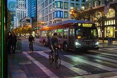 Market Street (sirgious) Tags: sanfrancisco bicyclist bicyclists bus muni dusk