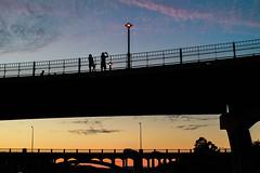 Dusk On the Bridge (Geoff Livingston) Tags: street dusk people sunset silhouette austin texas thescene night bridge