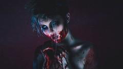 Jacqueline / Blood (Thomas Ohlsson Photography) Tags: blood bluelight freakshow halloween horror jacquelinestand model nightofthelivingdead pentaxk3ii portrait portraiture smcpentaxfa77mmf18limited scary studio thomasohlssonphotography undead weareallfreaks zombie thomasohlssoncom lomma skneln sweden