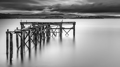 Aberdour Pier Long Exposure (roseysnapper) Tags: firthofforth nikkor2470f28 nikond810 circularpolarizer aberdour fife scotland cloud jetty landscape outdoor peace pier river ruin seascape serene sunset tranquil water