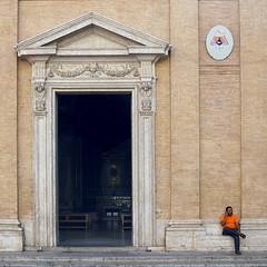 Roman Street III (Erik Schepers) Tags: street rome roman italy italia church cell building orange architecture color calling phone sitting roma