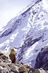 Changri Nup Glacier Porter (robertdownie) Tags: sky mountains mountain nepal glacier himalaya hiking trekking region hiker glacial moraine porter gorak shep everest changri nup sherper