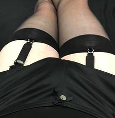 Being naughty (TVNicola & Mistress) Tags: high heels tv stockings knickers slip satin black