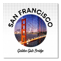 Graphic Art SAN FRANCISCO Golden Gate Bridge (american_flat) Tags: america sanfrancisco usa goldengate bridge red landscape horizon coast architecture city lake landmark megacity sight urban california presido orange decorative illuminated lights colourful dark dusk evening night sunset traffic light street skyline movement blurred golden gate bay double exposure composing montage abstract splashes colorful modern collage circle geometric shape typography text graphic vector