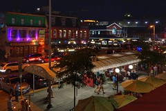 Warm summer nights in the Market (beyondhue) Tags: byward market marche by ottawa night scene street beyondhue dark light shop store people traffic tuesday fish stand pedestrian car ontario canada roof