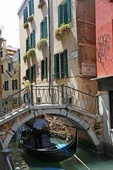 Venice, gondola & Ponte dei Carmini bridge (Kurtsview) Tags: italy venice gondola gondolier boat bridge people architecture