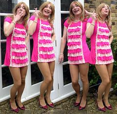 smoking party (gillian .) Tags: pink outdoors tv dress lace feminine cd tights transgender mature tranny blonde transvestite heels crossdresser ts tg minidress pantihose