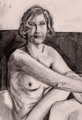 Female Nude in Armchair (Jim_V) Tags: pencil nude sketch 1930s doodle