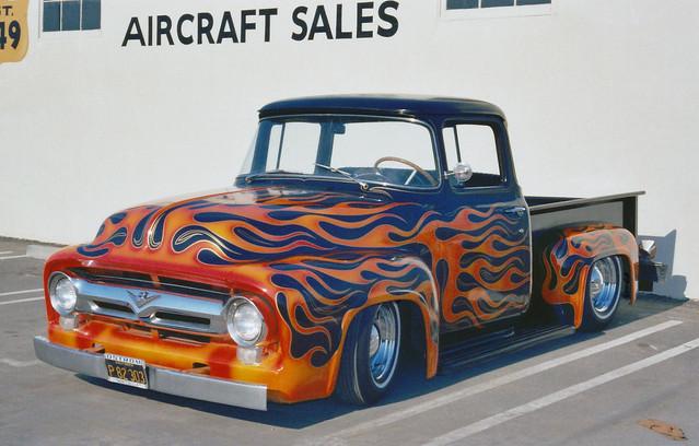 ford truck flames pickup f100 prey 1956 1970s oldcar walt lowrider carshow customcar kustom
