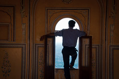 Guard looking over Jaipur from Amber Fort (terbeck) Tags: india view fort guard jaipur amer amberfort amerfort terbeck