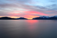 Alaskan Sunset (Victor Wei.) Tags: cruise sunset vacation snow mountains water colors alaska clouds boat peaceful waters nautical
