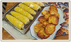 Fresh corn...and Fritters, too! (MissyPenny) Tags: food yellow catchycolors corn fresh fried comfortfood cornonthecob fritters cornfritters kodakz990