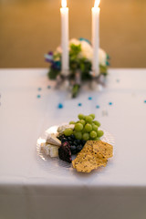 Sustenance (Eric-Bauer) Tags: life wedding light food white colors cheese canon photography 50mm soft candles place mark f14 iii low sigma plate grapes 5d cloth setting crackers tale prepared sustenance
