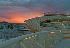 The Mushroom at sunset (tramsteer) Tags: sunset mushroom weather architecture night buildings dark spain lowlight seville andalucia structure archetecture plazamayor metropol metropolparasol tramsteer