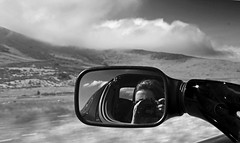 Driving Through Wales (HannahGE) Tags: selfportrait motion blur reflection sports car electric wales mirror movement snowdonia driveing tesla roadster