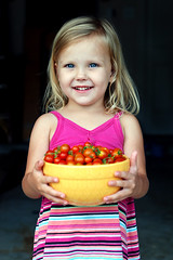 Fresh from the garden (simply colleen) Tags: pink blue red girl smile yellow garden dark hair eyes child dress yum background tomatoes bowl fresh blonde ripe preschooler