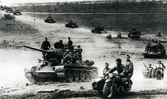 "Soviet tanks T-34-85 on the march in the offensive • <a style=""font-size:0.8em;"" href=""http://www.flickr.com/photos/81723459@N04/9276373060/"" target=""_blank"">View on Flickr</a>"