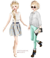 Two Looks, One Hair  (amelie // tysm for the faves) Tags: life summer hk london fashion island glasses outfit day rawk ange group olive 15 sl company ii secondlife gift co second week ci hunt fifteen endless caladesi umeboshi freebie hunts dva pabu crickhowell auxiliary esh ootd stylecard loordes atooly