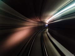 G-Force [Explored] (Empty Quarter) Tags: longexposure red toronto train subway downtown fuji ttc tunnel transit fujifilm rocket curve broadview x10