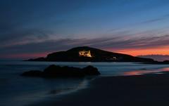 Twilight (Robgreen13) Tags: ocean uk longexposure light sunset shadow sky seascape beach water silhouette clouds canon island eos hotel golden coast rocks colours view shoreline calm devon burgh bigburyonsea 650d