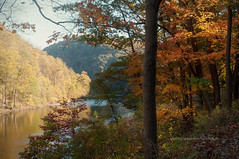 Cheat River near Parsons (Singing Like Cicadas) Tags: autumn vacation fall texture nature vintage river landscape outdoors october westvirginia appalachia cheatriver 2012 waterscape kimklassen onethousandgifts