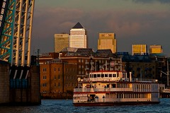 (davidkhardman) Tags: sunset urban london thames towerbridge landscape boat cityscape canarywharf unknown174150500mm