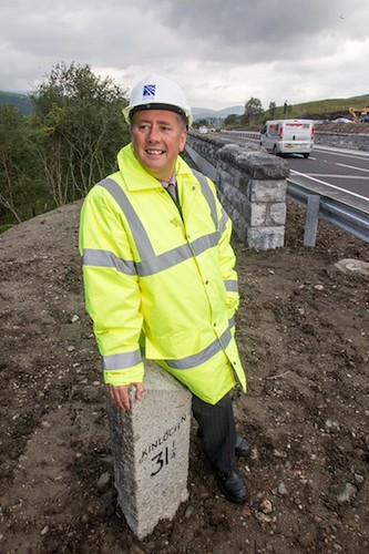 Transport Minister at Allt Chonoglais Bridge