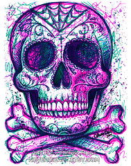 Neon Death (Caressa_sparkle) Tags: old blue school never art rose rock tattoo illustration dark de dead skeleton death skull design spider los colorful punk neon die artist day heart bright drawing outsider web traditional flash arts dia pop sugar popart bones marker muertos bone sharpie carissa markers webs lowbrow edgy ead thed neverdieart misscarissarose