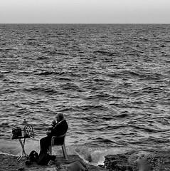Quiet Sunday Afternoons (Gabriella Sunshine) Tags: beirut sunday shisha sea corniche seafront alone lonely blackandwhite water lebanon