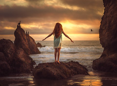 Fly Home ({jessica drossin}) Tags: jessicadrossin photography portrait girl redhair redhead dress dream sunset sky ocean sea rocks birds fly child kid reflection flight