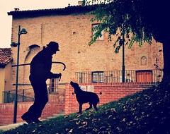 Truffle hunter and his dog. (France-) Tags: 150 truffle hunting dog chien italy italie italia piedmont lelanghe roddi silhouette fall automne autumn