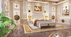 Art Deco Master Bedroom (andrei.pastushuk) Tags: apdesign andreipastushuk classic classy white opulent beige yellow gold frame molding interior design master bedroom bed highend luxury elite beautiful stylish art deco leather headboard light sunshiny comfortable indoor