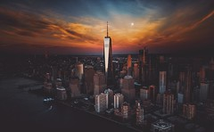 Supermoon (Panda1339) Tags: sunset supermoon flynyon summiluxq 28mm leicaq aerial fromthesky newyork usa nyc thealmostsupermoon exploredno12