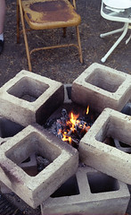 Cinder Block BBQ (bcgreeneiv) Tags: canon a1 film analog bbq cinder block flame fire