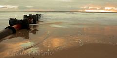 reflective dawn (jules 500) Tags: blythbeach dawn sunrise northumberland coast sea waves sand pipe canon october 2016 blyth beach