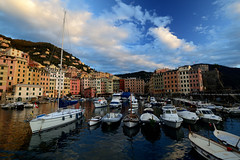 Camogli and his gulf (moniq84) Tags: camogli sigma boats liguria italy buildings seascapes clouds