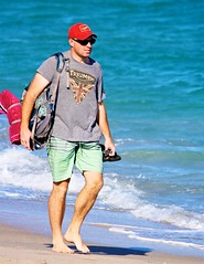 Man with red towel (LarryJay99 ) Tags: men male man guy guys dude dudes legs hairylegs redcap urbanbackpacker backpacker walking barfuss barefoot toes sunglasses shades face facialhair arms hairyarms pits peekingpits armpits canon60d dslr hotdudes virile studs manly