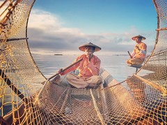 Cloud makers~ Myanmar (~mimo~) Tags: portrait inlelake cigarette smoke fishermen mobile shotoniphone7 travel asia burma myanmar