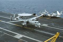 TE-2A Hawkeye 149818 of RVAW-110 TT-336 (JimLeslie33) Tags: 149818 e2 e2a te2a rvaw rvaw110 nas miramar uss constellation cv64 naval aviation usn navy olympus om1 tt tt336 grumman hawkeye aew