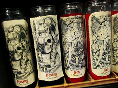 Hex Witch Shop: Spell Candles (shaire productions) Tags: neworleans witch hex image picture photo photograph supernatural merchandise spells potions imagery occult cult magic magical nola shop store witches wiccan wicca candles hexing craft pagan paganism graphic illustration design candle shelf interior dark macabre goth gothic style vampire skull skeletal bones