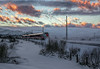 The journey. (Siggi007) Tags: train tracks railroad nature landscape landschaft scenery paysage sky colors clouds snow cold mountains mountainsides speed fog mist travel traveling canoneos6d evening winter november environment europa engenering ride tranquil outdoor abend dawn journey colour colores norway norwegen noruega mood sunset serene dusk 50mm