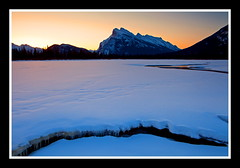 Crack (stevenbulman44) Tags: mountain lake snow color ice canon spring glow alberta banff vermillion rundle