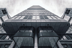 Silver Tower (Philipp Klinger Photography) Tags: windows sky bw white black reflection tower window lines metal clouds facade skyscraper silver germany point deutschland vanishingpoint blackwhite am nikon europa europe pattern hessen angle cloudy geometry frankfurt main wide bank db highrise vanishing metall philipp frankfurtammain fassade d800 hesse dresdner ffm mainhattan weitwinkel converging klinger converginglines silvertower silberturm