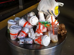Dunkin Donuts Cares About Recycling (rootseven) Tags: coffee boston trash massachusetts cups waste recycle styrofoam
