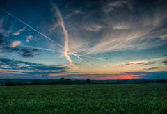 Crossed Lines (Mark Seton) Tags: sunset clouds places miscellaneous essex thaxted uttlesford aircrafttrails
