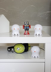 bedroom (fostaaah) Tags: white bedroom robots headphones homedecor styling nightstand vingette bedsidetable homeinterior