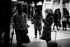 (sinkdd) Tags: street bw girl monochrome japan tokyo blackwhite nikon mask cellphone cell mob smartphone mobilephone nikkor cellularphone d800 kinshicho 錦糸町 f18d 85m streetsnap nikond800