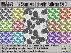 Seamless Butterfly Patterns Set 3 Poster (..::RO!ACT::..DESIGNS) Tags: summer house color texture home animal shop butterfly insect spring clothing colorful pattern furniture designer pastel decoration sl fabric secondlife material decor seamless builder iw fullperm inworldz