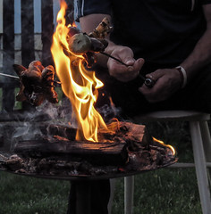 dinner time (pawoo44) Tags: wood dinner canon fire bacon smoke flame sx50
